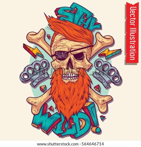 skull in swag style  vector