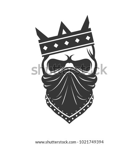Skull in the Crown and Bandana. Gangster icon