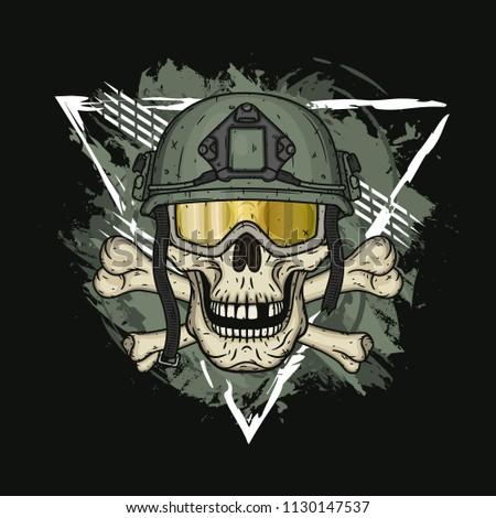 Skull in the helmet. Dead soldier.