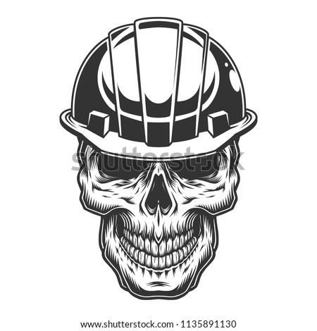 Skull in the miner helmet. Vector vintage illustration