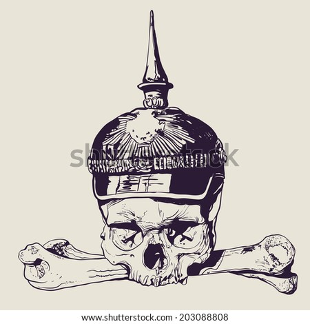 skull in war helmet and
