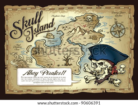 Stock Photo Skull Island Treasure Map