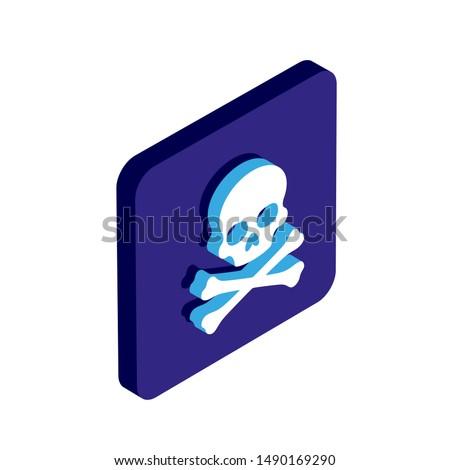 skull isometric 3d vector icon