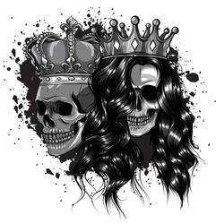 Skull King and Queen vector. Love skull couple.