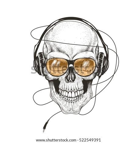 skull listening a music in