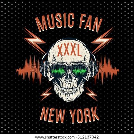 skull listening to music on