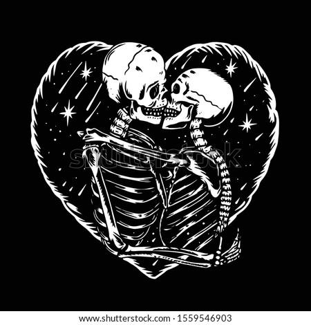 skull love kiss illustration vector hand drawing