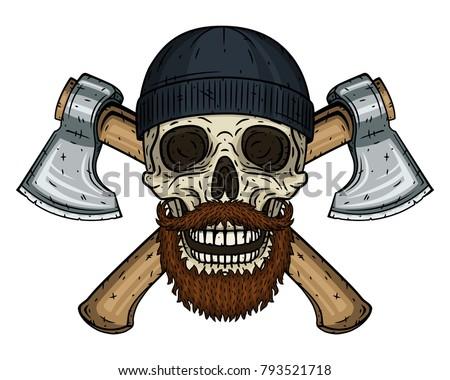 skull lumberjack with a beard