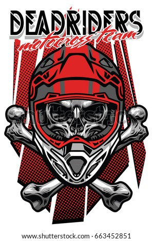 skull motocross rider with