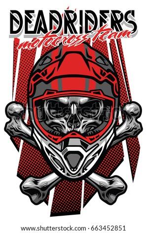 skull motocross rider with