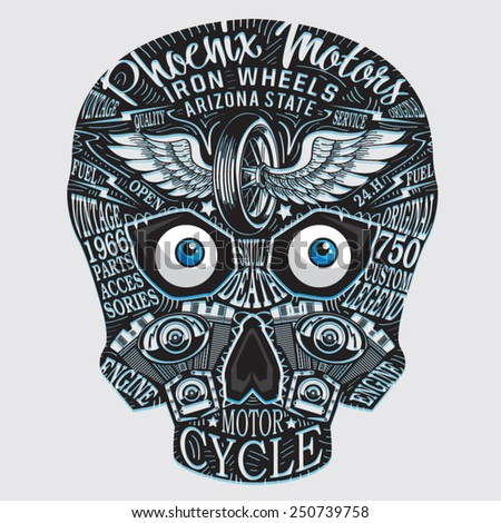 skull motorcycle typography  t