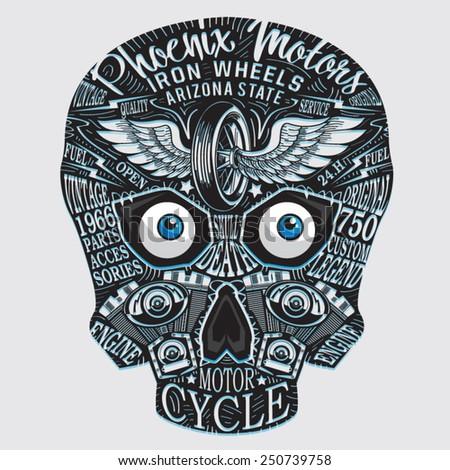 skull motorcycle typography  t