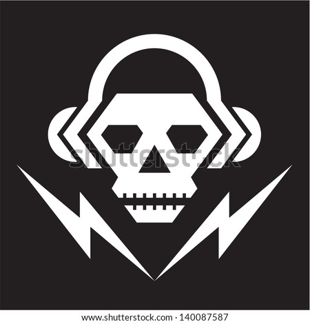 skull music   vector logo sign