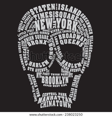 skull new york typography  t