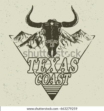Skull of bull on mountains background.Western logo.Vector retro label.Texas coast