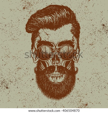skull of human with sunglasses