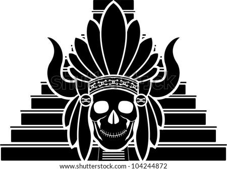 skull of mayan indian. stencil. vector illustration