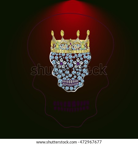skull of precious stones on a