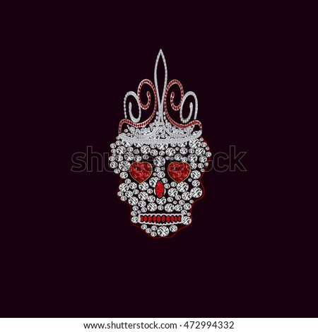 skull of precious stones with a