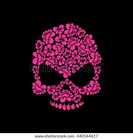 skull of roses on a black