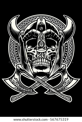 skull of viking warrior with
