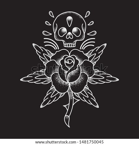 Skull Old School with symmetric rose. Tattoo design for t-shirts, banners, poster, logos. Inspired by the traditional flash. Granulated effect with minimalist lines.