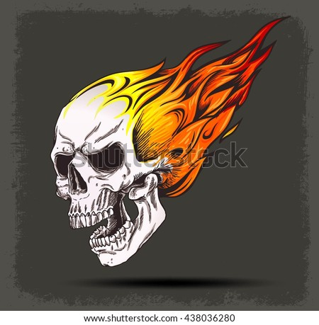 SKULL ON FIRE VECTOR ICON GRUNGE BACKGROUND ISOLATED
