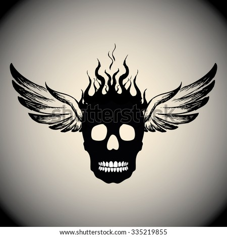 skull on fire with flames and