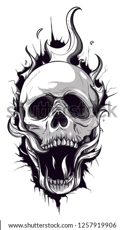 skull on fire with flames