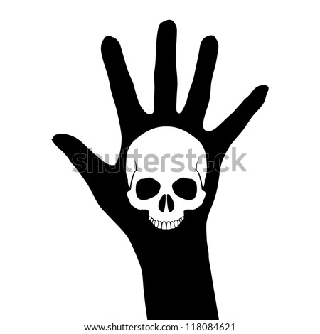 Skull on the hand. Illustration on white