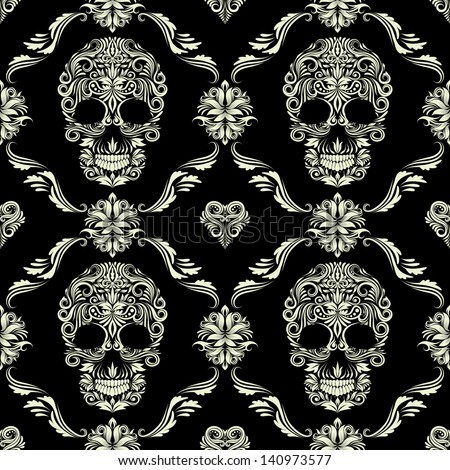 skull ornamental pattern