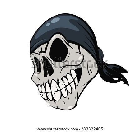 skull pirate bandana on a white