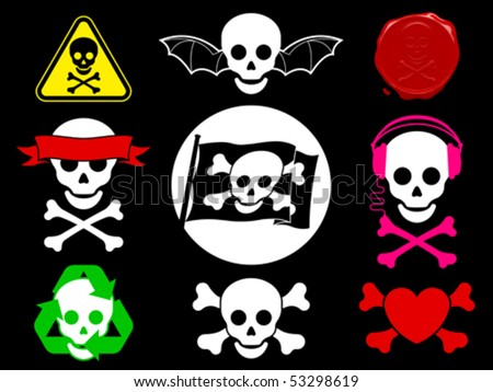 Skull pirate icon collection â?? vector