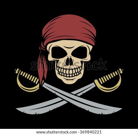 skull pirate wearing a bandana
