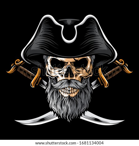 skull pirate with two sword