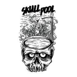 Skull Pool Black and White Illustration