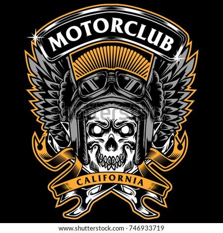 skull race motorbike tee design art print