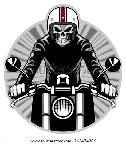 skull ride a motorbike