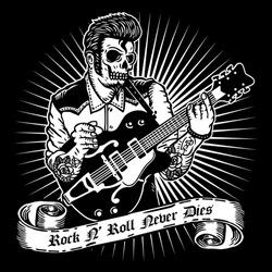 Skull Rockabilly Style Playing Vintage Rock Guitar Vintage Retro Design