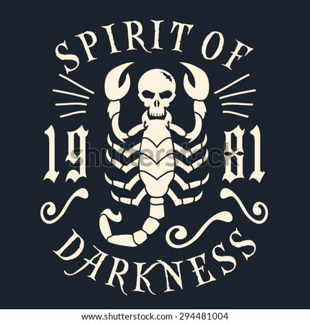 skull scorpion typography  t