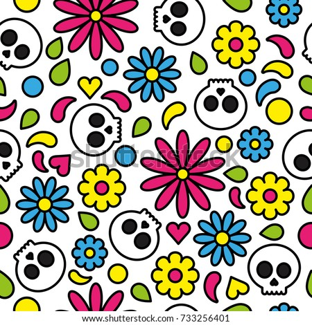 skull seamless pattern day of