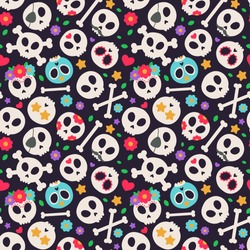 Skull set. Seamless pattern with flat design of skulls on the dark background. Vector illustration