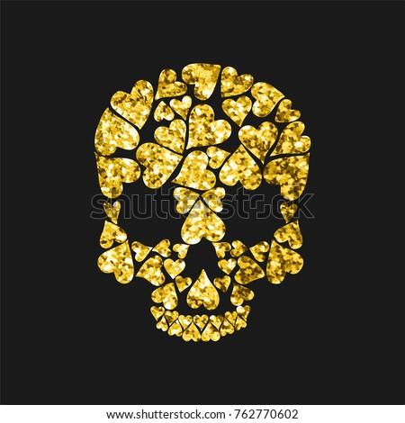 skull shape from gold hearts