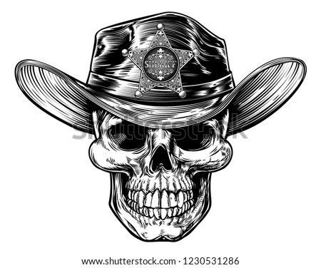 c36510c5e9fee Vector illustration. Skull sheriff cowboy drawing in a vintage retro  woodcut etched or engraved style  1230531286
