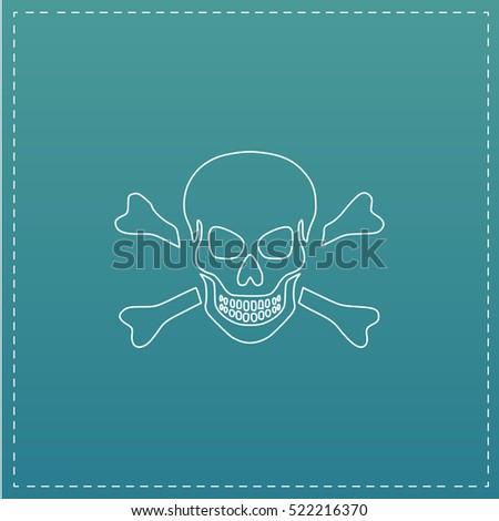 skull simple line vector button