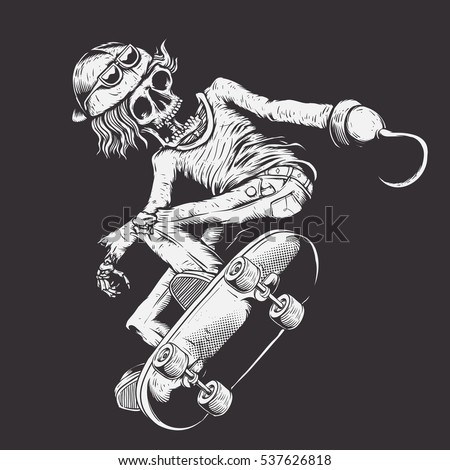 skull skate with pirate hook on