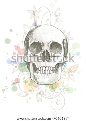 Skull sketch & floral calligraphy ornament - a stylized orchid, color paint background