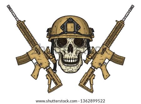 skull skull in helmet and with