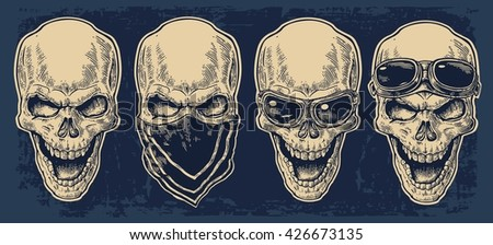skull smiling with bandana and
