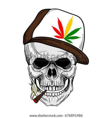 skull smoking weed wearing weed
